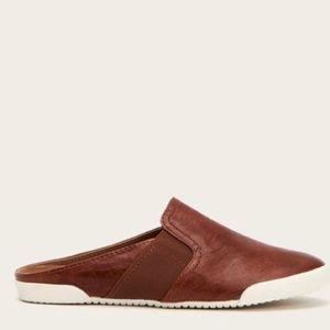 NWT Frye Melanie Gore Brown Leather Mule Sneakers